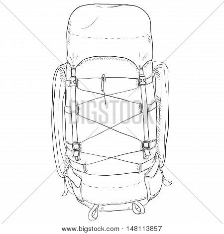 Vector Single Sketch Hiking Backpack.