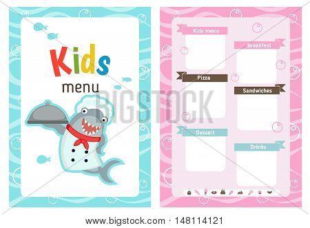 Kids menu card with shark dressed as cook. Cute colorful kids meal restaurant menu vector template.