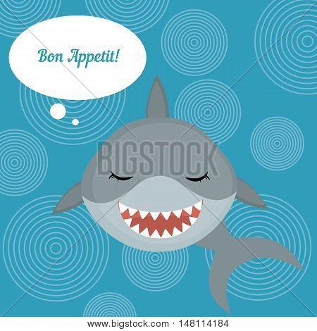 Fish menu card with shark. Shark says