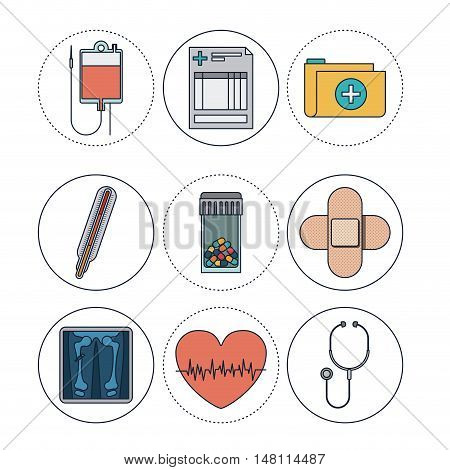 Blood bag document file thermometer medicine bandage heart and stethoscope icon. Medical and health care theme. Colorful design. Vector illustration