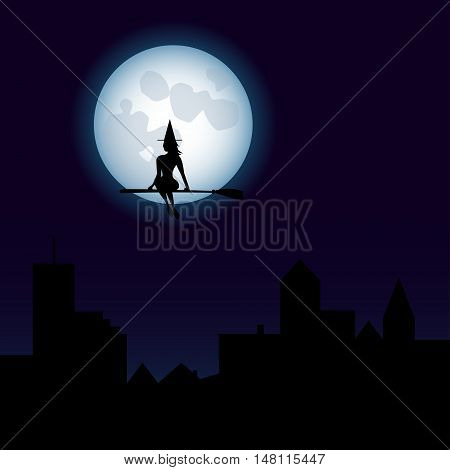 Halloween Cute Witch Flying On A Broomstick - Fool Moon - Silhouette - Vector EPS10