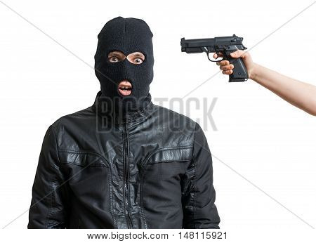 Arrested Burglar Or Robber Isolated On White Background. Hand Is