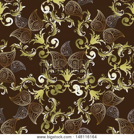 Royal luxury Baroque damask paisley antique vintage floral brown vector seamless pattern, background  illustration with medieval antique gold 3d baroque vintage Paisley flowers ornaments