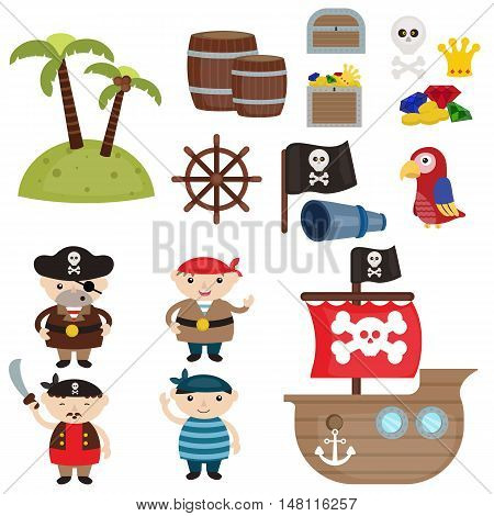 Set of cute pirate an pirate objects.