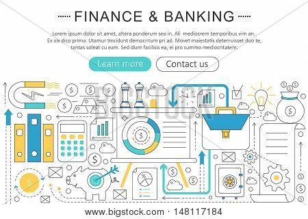 Vector elegant thin line flat modern Art design Finance banking investment concept. Website header banner elements layout. Presentation, flyer and poster