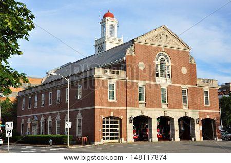 Cambridge Fire Department near Harvard Yard, Cambridge, Massachusetts, USA
