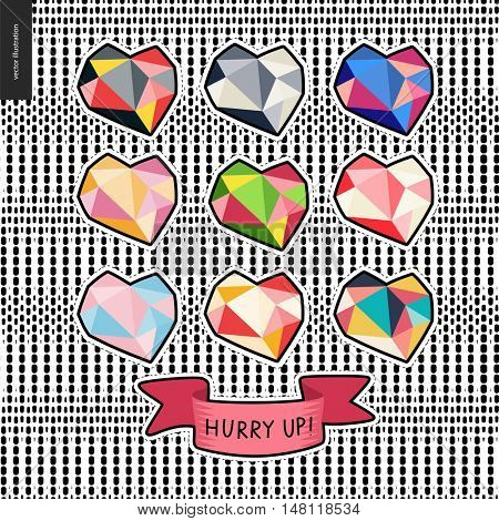 Patches, hand drawn vector stickers set of diamond hearts. A set of cartoon hand drawn diamonf colorful hearts and a ribbon with writing Hurry up