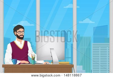 Business man entrepreneur working at his office desk. office employee man