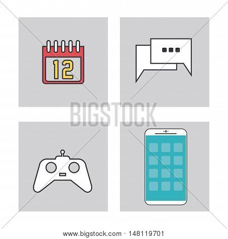 videogame bubble calendar and smartphone icon. Apps Application internet and media theme. Colorful design. Vector illustration