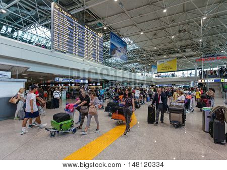 ROME, ITALY - September  15, 2016: Passengers and schedule departure flights in Fiumicino Airport. Fiumicino - Leonardo da Vinci International Airport is a major international airport in Rome Italy