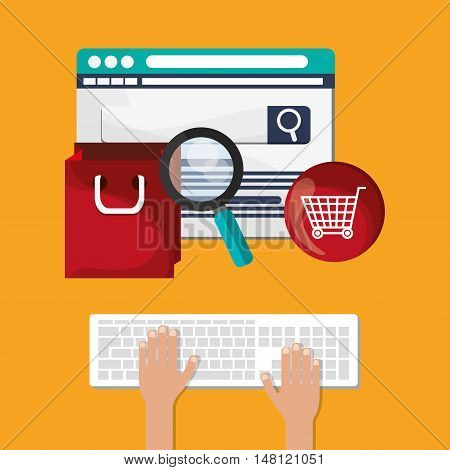 Keyboard lupe bag and cart icon. Shopping online ecommerce and media theme. Colorful design. Vector illustration