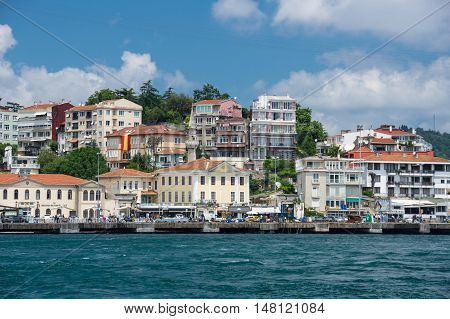 ISTANBUL TURKEY - JUNE 25 2015: Panoramic view of Istanbul and Bosphorus which separates Asian Turkey from European Turkey in Istanbul Turkey