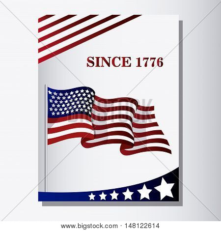 united states of america flag. usa landmark and patriotic icon. Colorful and frame design. Vector illustration