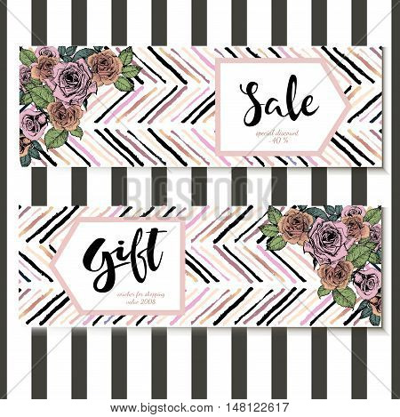 Vector set of flyer and gift voucher for great sale. Square text template. Rose gold flowers and chevron modern brush spot in trendy pastel colors. Use for business fashion promotion.