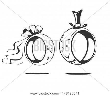 Bridegroom and bride. Wedding ring. Vector illustration isolated on white background