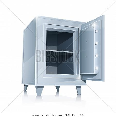 Open empty metallic safe vector illustration isolated on white background. Transparent objects and opacity masks used for shadows lights drawing