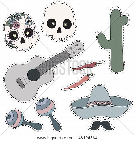 Mexico set. Collection of Cinco de Mayo design elements vector illustration