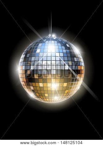 Mirror disco ball vector illustration. Transparent objects and opacity masks used for shadows lights drawing