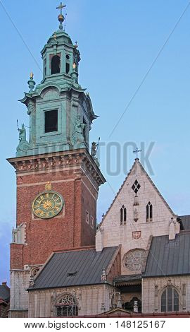 Clock Tower and Silver Bell Tower of the Wawel Cathedral in Krakow, Poland