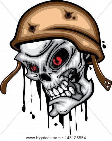 Skull head red eye with helmet protector 3d vector on white background