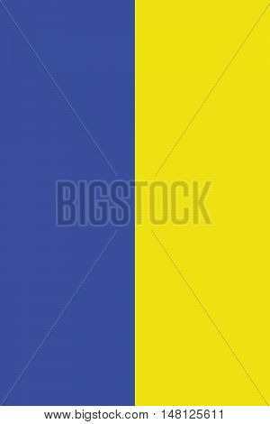 The National Flag of Ukraine. Verticalal banner of two equally sized bands of blue and yellow. Proper proportions and colors. Vector illustration in eps8.