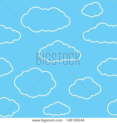 Clouds seamless pattern. Vivid sky blue continuous background with white thin line cloudlets. Simple vector repeating texture in eps8 format.
