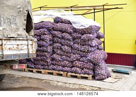 Bags of raw potatoes in stock. A pile of potatoes
