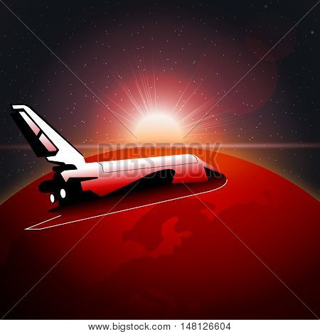 Digital vector planet earth icon with red light and shuttle moving in space, over stelar background, flat style.