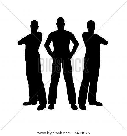 Tres hombres silueta