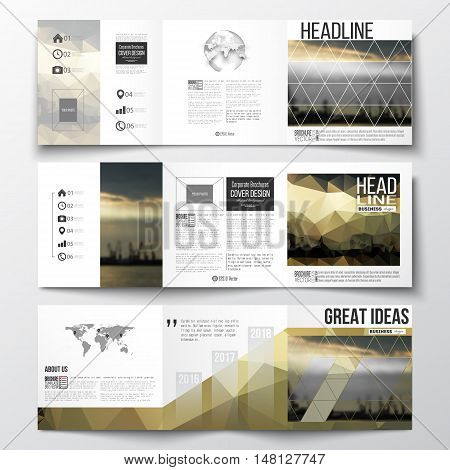 Vector set of tri-fold brochures, square design templates with element of world map and globe. Colorful polygonal background with blurred image, seaport landscape, modern triangular vector texture.