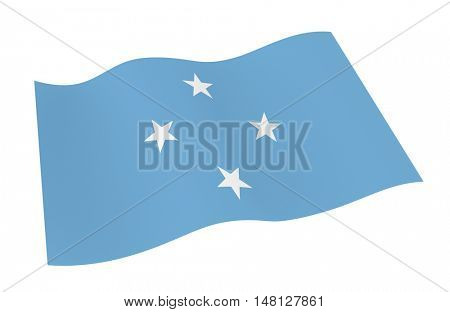 Micronesia flag isolated on white background from world flags set. 3D illustration.