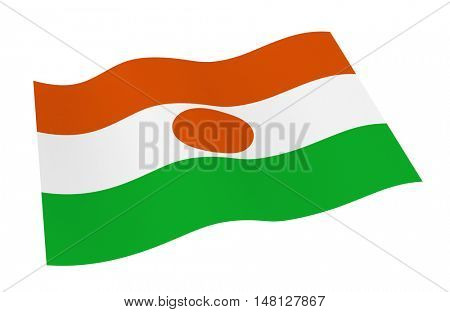Niger flag isolated on white background from world flags set. 3D illustration.