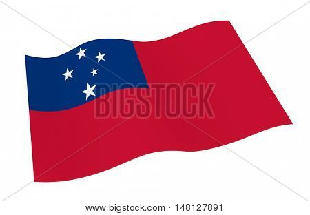 Samoa flag isolated on white background from world flags set. 3D illustration.