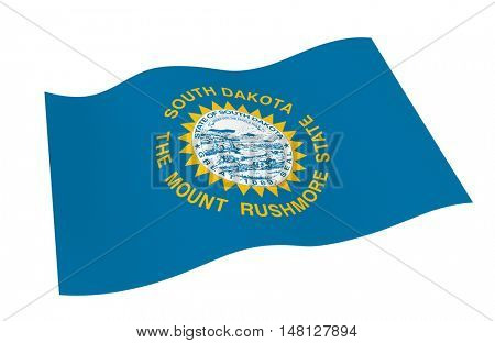 South Dakota flag isolated on white white background from world flags set. 3D illustration.