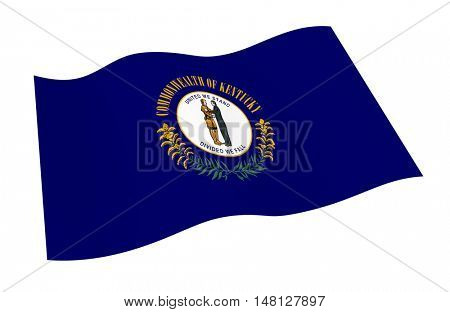 Kentucky flag isolated on white white background from world flags set. 3D illustration.