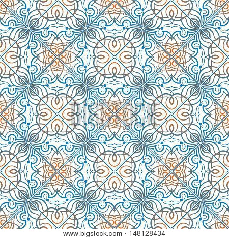 Blue With Orange Pattern
