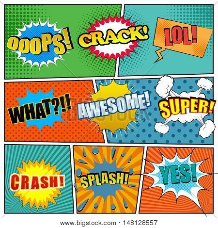 Comic book page template with expressions. Cartoon collection with different exclamations. Vector illustration
