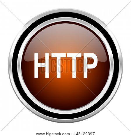 http round circle glossy metallic chrome web icon isolated on white background