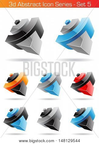 illustration of 3d Abstract Icon Series - Set 5