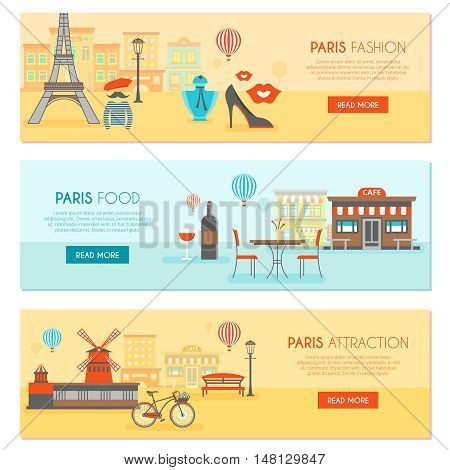 Paris horizontal banners set with fashion traditional food and tourist attractions isolated vector illustration