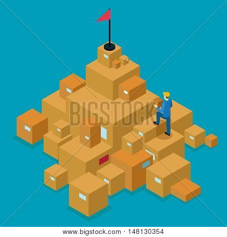 Delivery service isometric concept with man walking on cartons to goal on blue background vector illustration