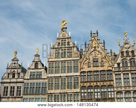 Landmark buildings surrounding the Great Square or Grote Markt of Antwerp, Belgium