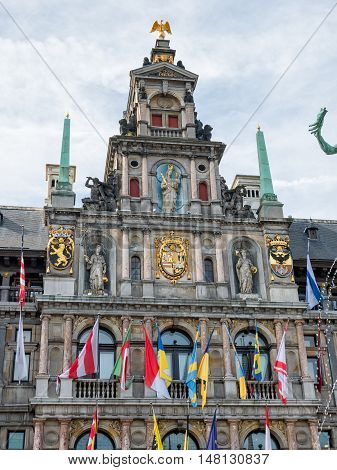 Town Hall and Brabofontein fountain at the Great Square Grote Markt in Antwerp, Belgium