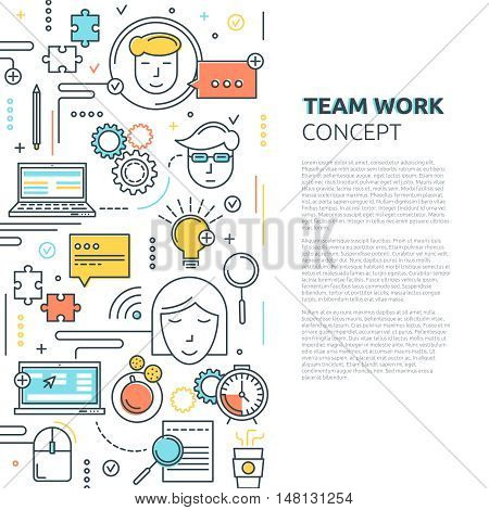 Team work vertical linear concept including information search and creative solutions time management and communications vector illustration