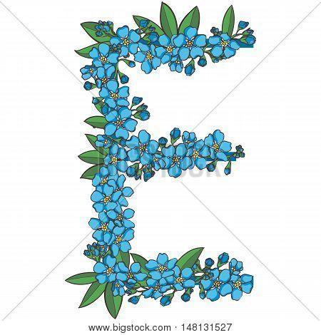 Forget me not vector alphabet. Letter E