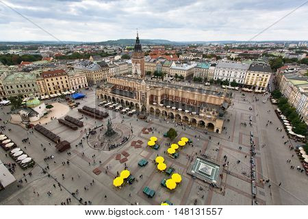Krakow, aerial view, Main Market Square and the Cloth Hall of the Old Town (Rynek Glowny w Krakowie) Poland.