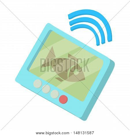 Fishing echo sounder icon in cartoon style isolated on white background vector illustration