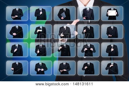 businessman choose character for appropriate to the business blue background