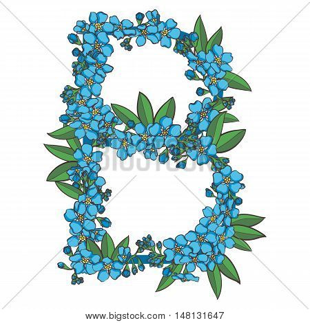 Forget me not vector alphabet. Letter B