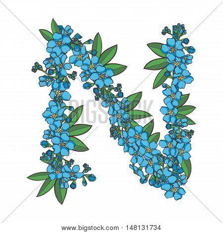 Forget me not vector alphabet. Letter N